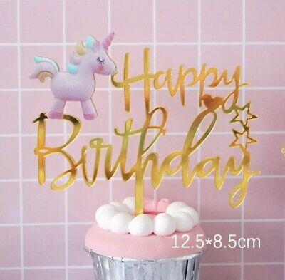 "Einhorn Tortentopper ""Happy Birthday"" Gold Kuchenaufsatz Cake Topper"