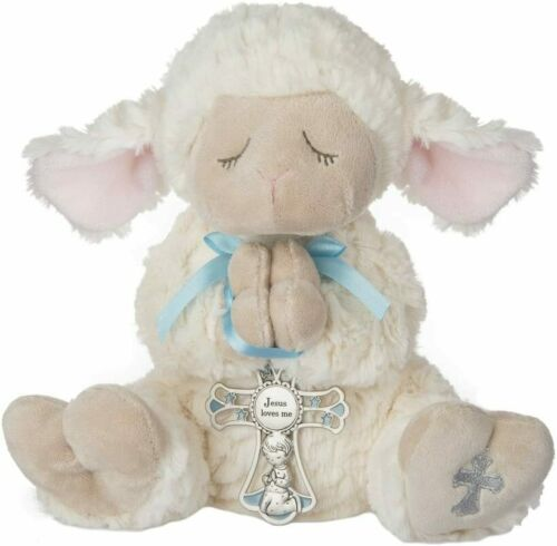 Ganz Serenity Lamb With Crib Cross Christening or Baptism Gift Blue