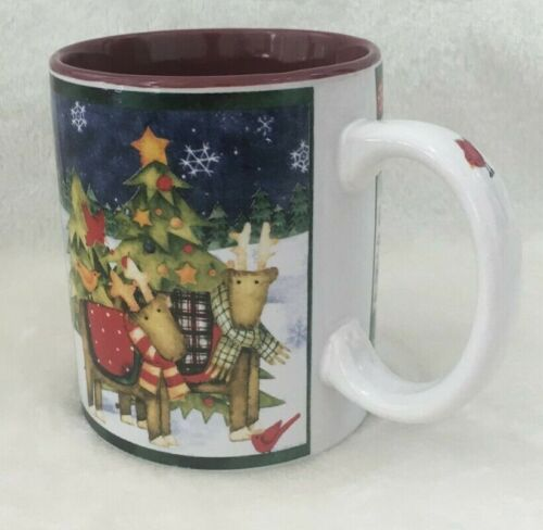 Gibson Debbie Horn DNO Welcome Christmas Cup Mug 11 oz Reindeer Stars Snow