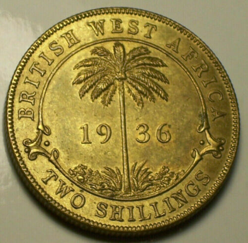 British West Africa, 1936 George V Two Shilling 2 Shillings. 32,939,999 Mintage.