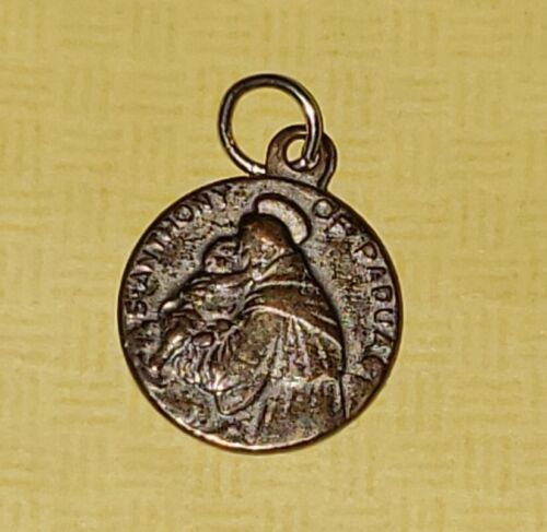 Vintage St. Anthony of Padua Religious Relic Linen Medal Charm Made in Italy