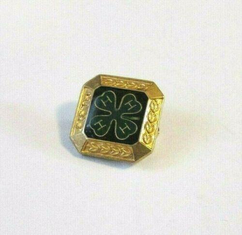 "Vintage Antique Engraved Square Gold Tone 4H Lapel Pin ""Fifth"" #2"