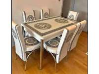 🔥🔥BRAND NEW VERSACE🔥🔥 EXTENDABLE DINING TABLE WITH 6 CHAIRS DIFF COLORS