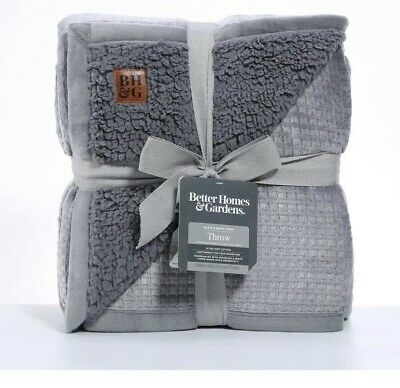 "Better Homes & Gardens Oversized Sherpa Waffle Throw Blanket 50x70"" Fleece Gray"