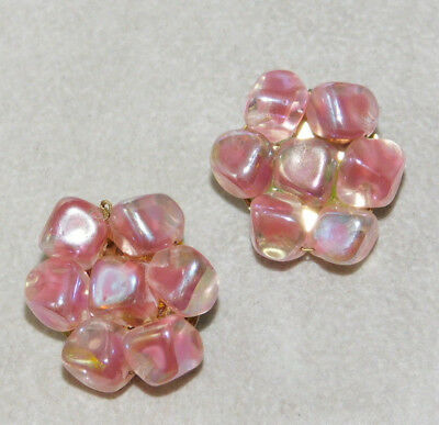 Vintage Pink Givre Aurora Borealis Glass Bead Cluster Clip on Earrings 5k 30