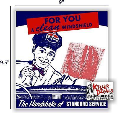 "9.5"" STANDARD MAN WINDSHIELD SERVICE BOX DECAL STATION GASOLINE PUMP"