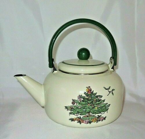 Spode Christmas Tree Tea Kettle Porcelain Enamel On Steel 2.5 Quart