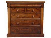 Scottish mahogany and walnut chest of drawers