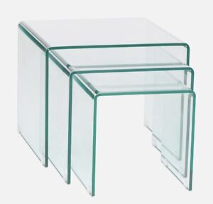 GLASS WATERFALL NESTING TABLES $549! like Structube Visio