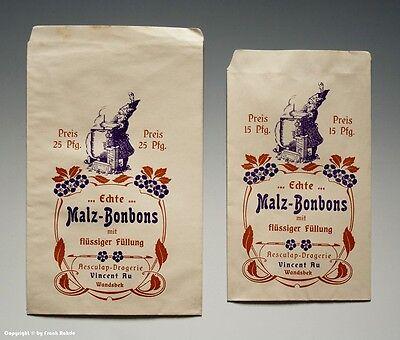 2 x Tüten Echte Malz-Bonbons um 1920