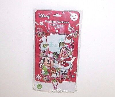 NWT NEW Christmas Disney Flashing Necklace Minnie Lights Ornaments 34 in