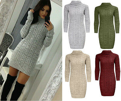 Womens Ladies Polo Roll Neck Cable Knitted Bodycon Jumper Dress Top Size UK 8-26 Neck Knitted Dress