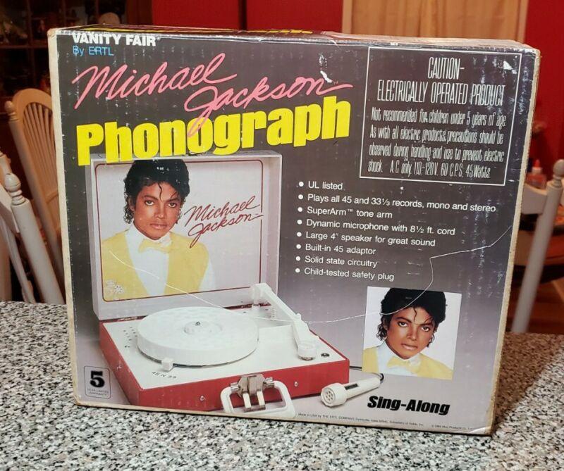 1984 MICHAEL JACKSON PHONOGRAPH SING ALONG 45 33 Vinyl Player ERTL MIb Works