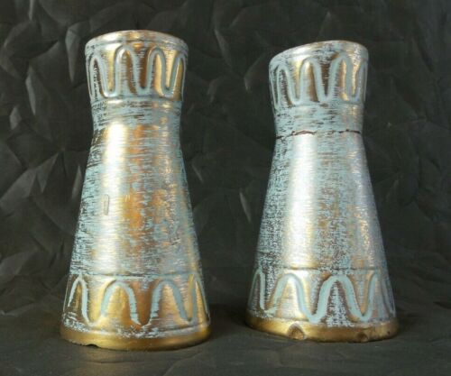 Beautiful Pair of Vintage Stangl Aqua & 22K Gold Hand Painted Pottery Vases