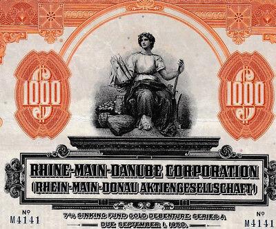 Rhein-Mai-Donau AG unc Gold $ Anleihe 1925 + Kupons Bayern Rhine-Main-Danube