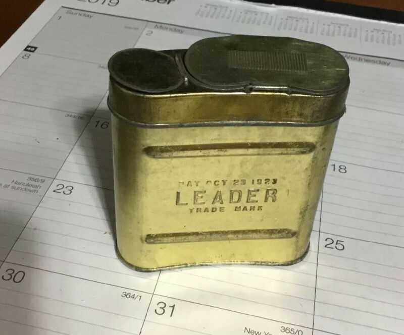 NOS RARE Antique Coal Mining Carbide Tin  Leader Carbide Container 1923