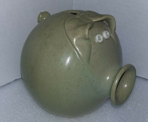 "Vtg Studio Art Pottery/Stoneware Crock PIG Piggy Bank Bottom Signed ""attaway"""