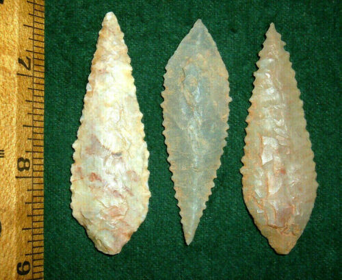 """(3) Big (2.25""""+) Serrated Sahara Neolithic Blades Prehistoric African Artifacts"""