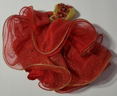 BARBIE DOLL CLOTHES RED & GOLD POINSETTIA SEQUIN TULLE RUFFLE HOLIDAY GOWN DRESS