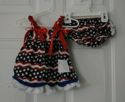 Tutu and Lulu ADORABLE 2 Piece Baby Girl Outfit Red White Blue Size 6-12 mos](Red White And Blue Tutu)