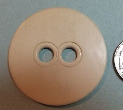 VINTAGE WAFER CREAM COLOR CELLULOID BUTTON W/ LARGE SEW - THRU EYES - 2
