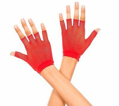 Rot Fischnetz Tänzer Style Fingerlose Handgelenk-Handschuhe Reizwäsche P401