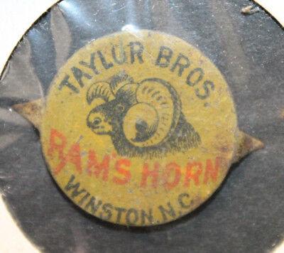 Winston NC Vintage Taylor Bros Rams Horn Tin Tobacco Tag