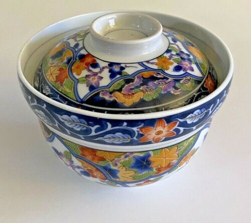 Vintage Antique Japanese IMARI Porcelain ~ Rice Bowl with Cover ~ Marked