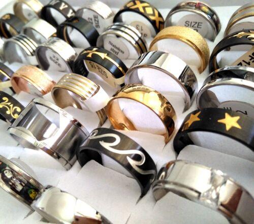 50pcs BIG SIZE  20 21 22 23 mix of men women Popular Stainless Steel Rings