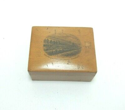 ANTIQUE MAUCHLINE WOODEN TRINKET BOX MARINA & ETABLISSEMENT RAMSGATE