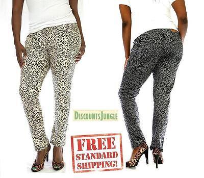 Womens Stretch Twill Pants - LP WOMENS PLUS SIZE Leopard CHEETAH PRINT STRETCH TWILL DENIM JEANS SKINNY PANTS