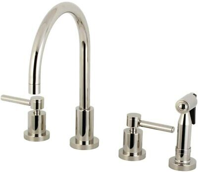Kingston Brass Concord 8-Inch Widespread Kitchen Faucet, Polished Nickel NEW