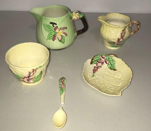 Vintage Carlton Ware Foxglove Design, Creamer, Sugar, Spoon, Pitcher & Leaf Dish