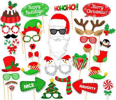 32PCS Christmas Xmas Santa Party Card Masks Photo Booth Props Mustache US SHIP