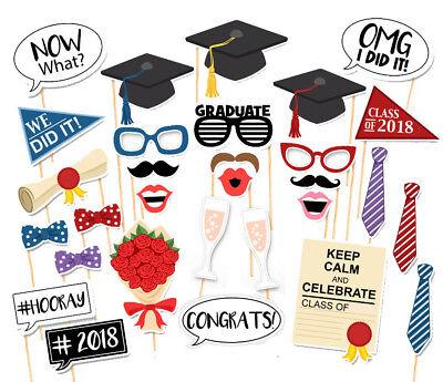 30PCS Class Of 2018 Graduation Grad Party Supplies Masks Photo Booth Props US