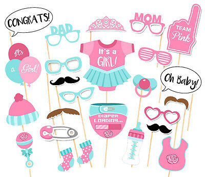 25 PCS Baby Shower Party Baby Bottle Masks Photo Booth Props Favor Pink For Girl