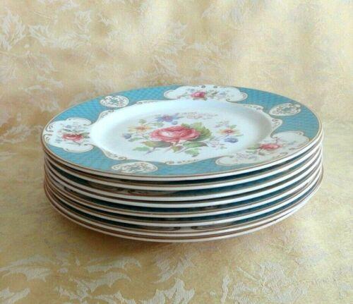 "Set of 8 Myott Staffordshire England Staffordshire Rose Blue Dinner Plate 9"" D"