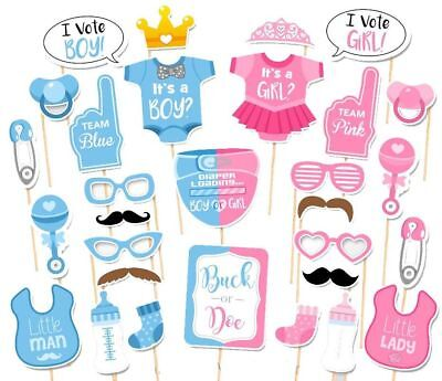 30PCS Baby Shower Gender Reveal Party Supplies Boy or Girl Photo Booth Props US (Boy Or Girl Baby Shower)