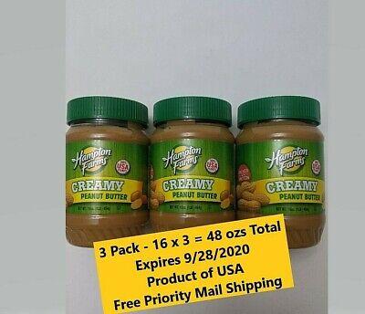 3 (3 lbs Total) Jars Hampton Farms Creamy Peanut Butter 100% USA Fresh Sealed Farms Peanut Butter