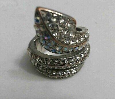 Vintage Rainbow Auroara Borealis Rhinestone Snake Reptile Stretch Ring