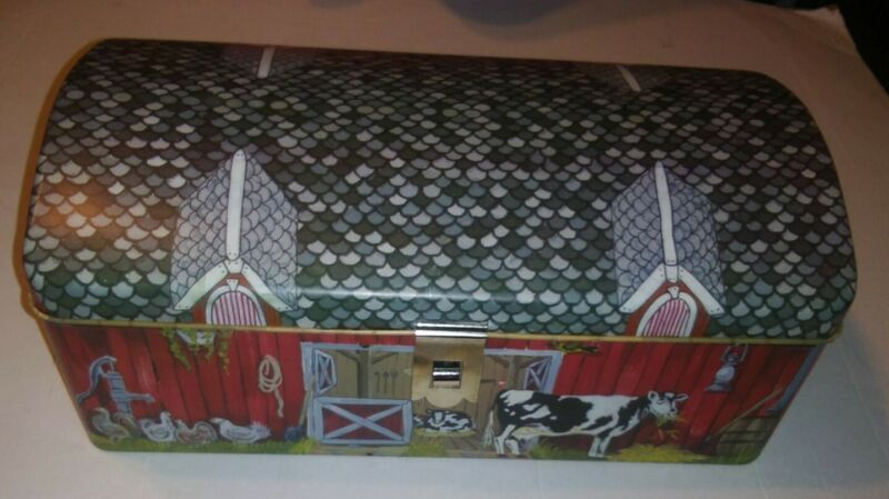Tin Litho Barn Shaped Tin Box Hinged Lid & Printed Farm Scene w/ Animals