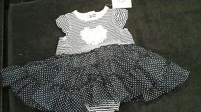 Little Me  TUTU POPOVERS NAVY STRIP dress / babygrow -- BNWT 3MONTHS