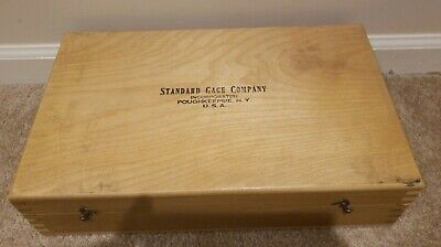 Vintage Standard Gage Company Machinist Tool Wood Box Dovetail 14.5x9