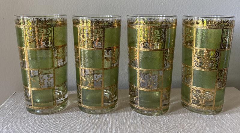 4 Vintage Culver Glasses MCM Prado Pattern 22K Gold & Green Barware Cocktail