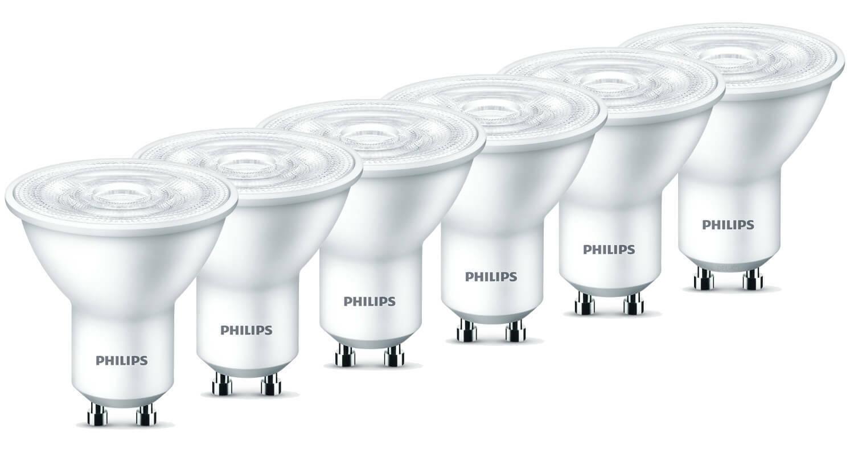 6er-Set Philips GU10 LED Strahler 4.7W warmweiss 36° wie 50W Halogenspot