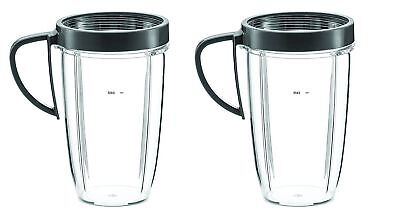 2 NutriBullet 24 oz Tall Cups with Handle Lip Ring Combo Pack, Free S/H
