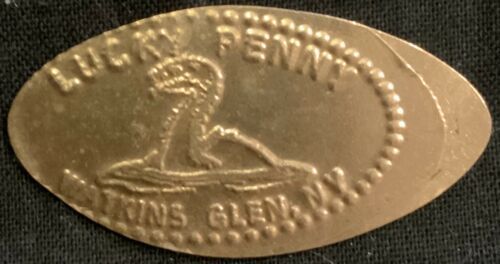 COPPER! LAKE MONSTER - LUCKY PENNY WATKINS GLENS NEW YORK PRESSED PENNY