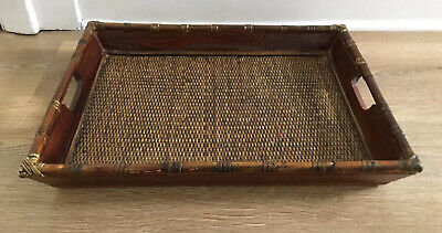 Old Vintage Large Wicker Bamboo And Wood Serving Tray