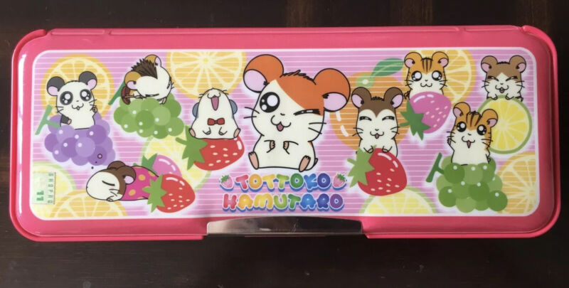 Authentic Anime Hamutaro Hard Case Two Compartments Pencil Box.