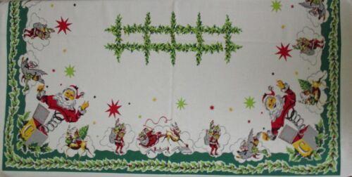 "Vintage Christmas Tablecloth MCM Atomic 68""x58"" Santa Pixies Star Reindeer Holly"